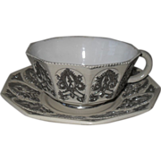 Villeroy and Boch Salt Glaze and Silver Cartouches Cabinet Teacup and Saucer 1850