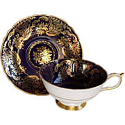 Paragon Cobalt Blue Heavy Gold Teacup/Saucer
