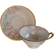 RS Tillowitz Lustre Pink Roses Teacup and Saucer