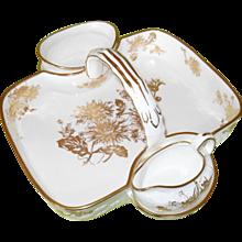 Gorgeous Hammersley England Golden Chrysanthemum Porcelain Strawberry Basket Set