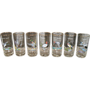 Set of 7 Vintage Ned Smith Wildlife Drinking Barware Glasses Culver 1950's