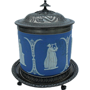 Antique Atkin Bros Silverplate Wedgwood Jasperware Biscuit Barrel with Base 1830