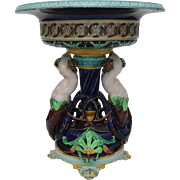Sarreguemines Majolica Reticulated Round Tall Centerpiece Mermaids 1880