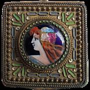 Beautiful French Enamel Pill Box Portrait Pendant