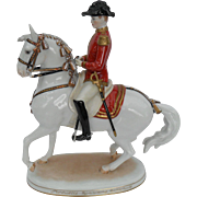 Wien Augarten Austria Porcelain Regimental Officer/Horse Figurine