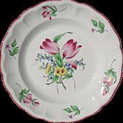 Keller & Guerin Luneville France Old Strasbourg Ca 1880 Dbl Tulip Floral Platter