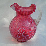 Large Commanding Fenton Cranberry Opalescent Ball Form Daisy and Fern Pitcher