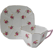 Vintage Shelley Pink Sweetheart Roses Queen Anne Shape Teacup and Saucer