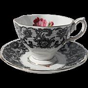 Rare Vintage 1950's Royal Albert Señorita Black Lace Red Rose Teacup and Saucer
