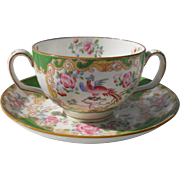 Mintons Green Cockatrice Cream Soup and Saucer 4863