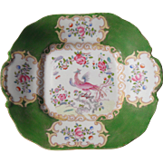 Mintons Green Cockatrice Square Cake Plate 4863 DAMAGE