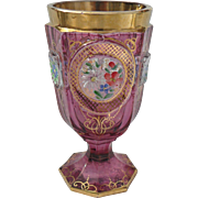 Handpainted Florals on Ruby Cabochon Gold Moser Beaker