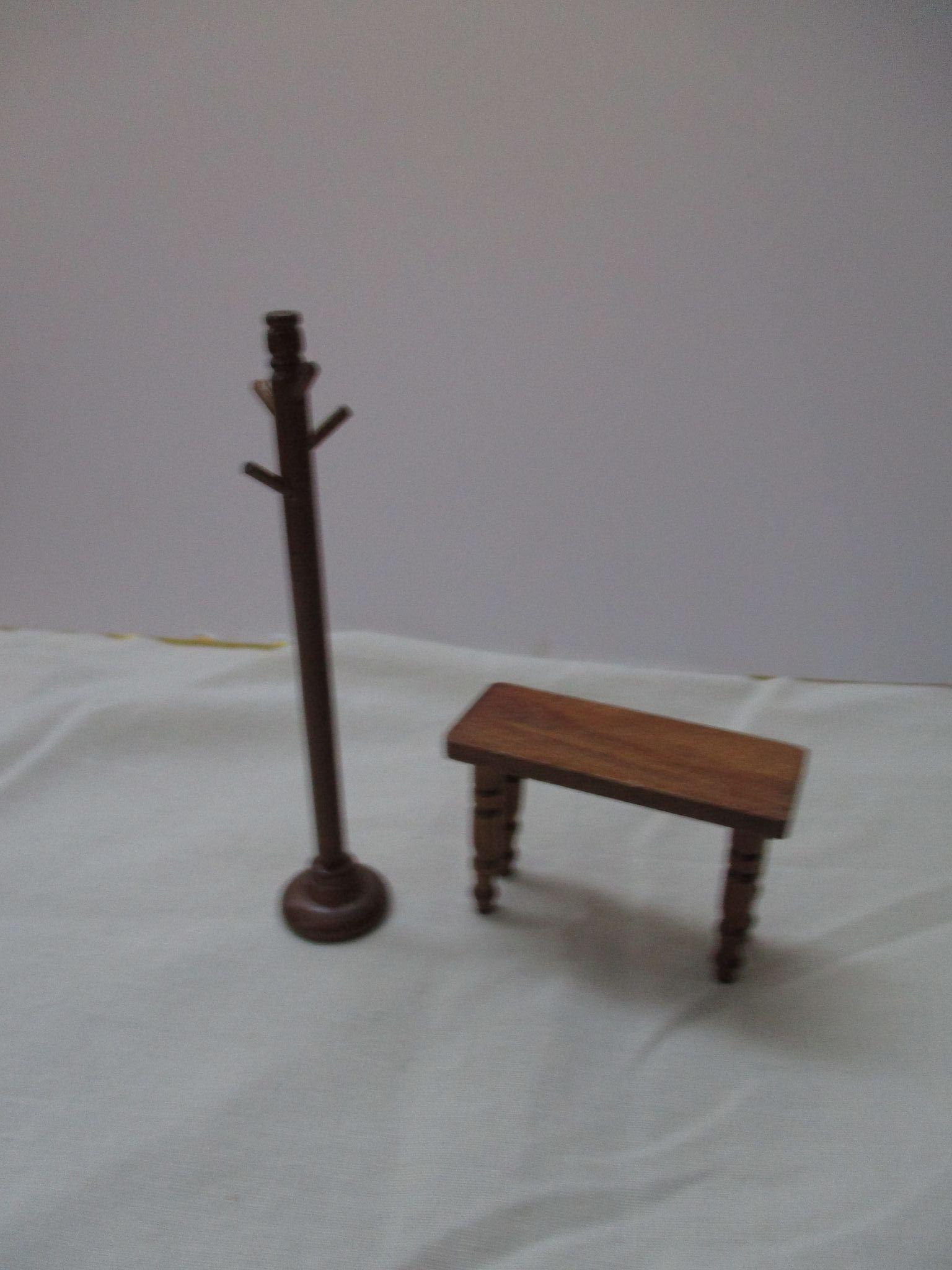 Vintage Miniature Wooden Bench And Coat Rack For Your Doll