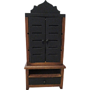 Vintage Miniature Doll House Wooden Cabinet