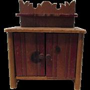 Vintage Wooden Doll Cabinet