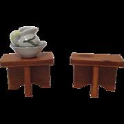 Vintage Wooden Table and Porcelain Pitcher/Bowl