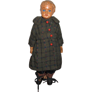 Vintage Celluloid Boy Doll With Glass Eyes.