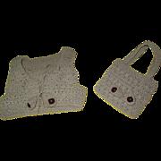 Vintage crochet Doll Vest and Purse