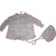 Vintage Knitted Baby Sweater and Bonnet For Your Doll