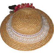 Vintage Straw and Lace Hat For Your Doll.