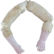 Antique Bisque and Leather Doll Arms