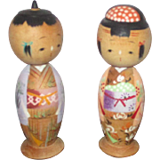 Vintage Kokeshi Dolls from Japan