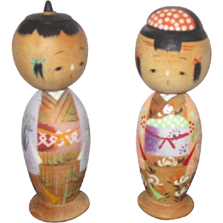 Vintage Kokeshi Dolls from Japan