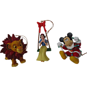 Vintage Magic Christmas Ornaments Mickey, Snow White, Simba