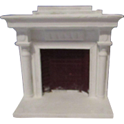 Vintage White and Red Fireplace For Your Doll House.