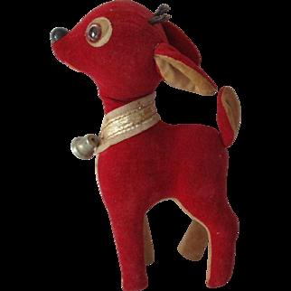 Vintage Red Japan  Velvet Reindeer.