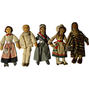 "5 Vintage Hallmark  Americans 7"" Cloth Dolls"