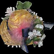 Vintage floral doll hat