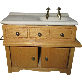 Vintage Doll House Kitchen Sink