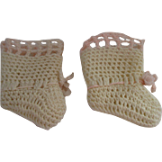 Vintage Baby Doll Knitted Booties