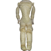 Antique Leather Doll Body With Bisque Hands