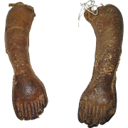 Antique Leather Doll Arms