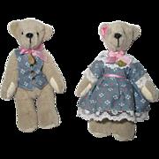 Vintage Pair Of Small Teddy Bears