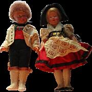 Vintage Pair Of Celluloid Dolls By Trachten-Puppen.