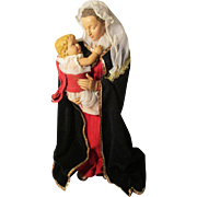 Vintage Paper Mache And Hard Plastic Madonna and Child