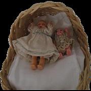 Vintage Babies In A Wicker Bassinet