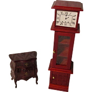 Vintage Grandfather Clock And Dresser For Your Doll House