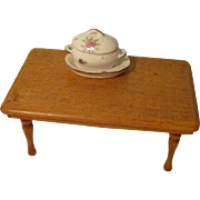 Vintage Farmhouse Table with porcelain dish