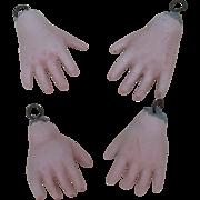 Vintage Bisque Doll Hands 2 Pairs.