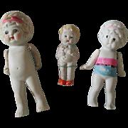 Vintage Three Japan Bisque Dolls