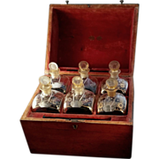 18th c English George III Tantalus with Gilt Decanters and Silver Liquor Tags