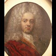 Exceptional  17th c Portrait Miniature, Oil on Brass