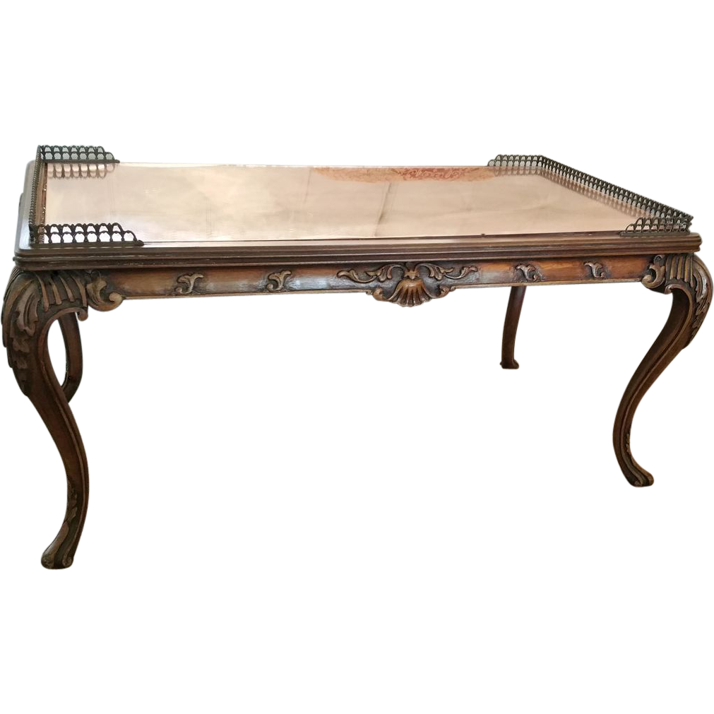 Carved French Style Coffee Table With Gallery Rail From Lamontantiques On Ruby Lane