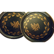 Pair of hand painted Vintage French Neoclassical Tole Pierced Trays