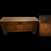 Rare 18th C Masonic / Freemason English Oak Blanket Chest with Star of David inlay