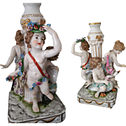 Antique German Dressel Kister Porcelain Figurine Candlestick with Putti / Cherubs